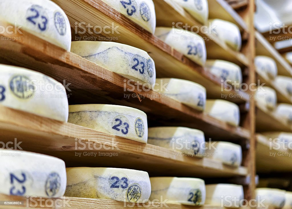 Aging Gruyere de Comte Cheese at maturing cellar in creamery stock photo