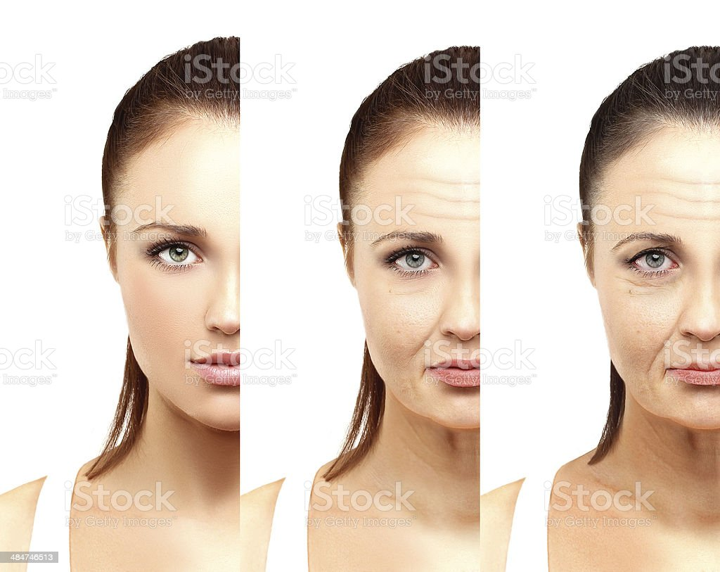 Aging. Mature woman-young woman. White background. stock photo