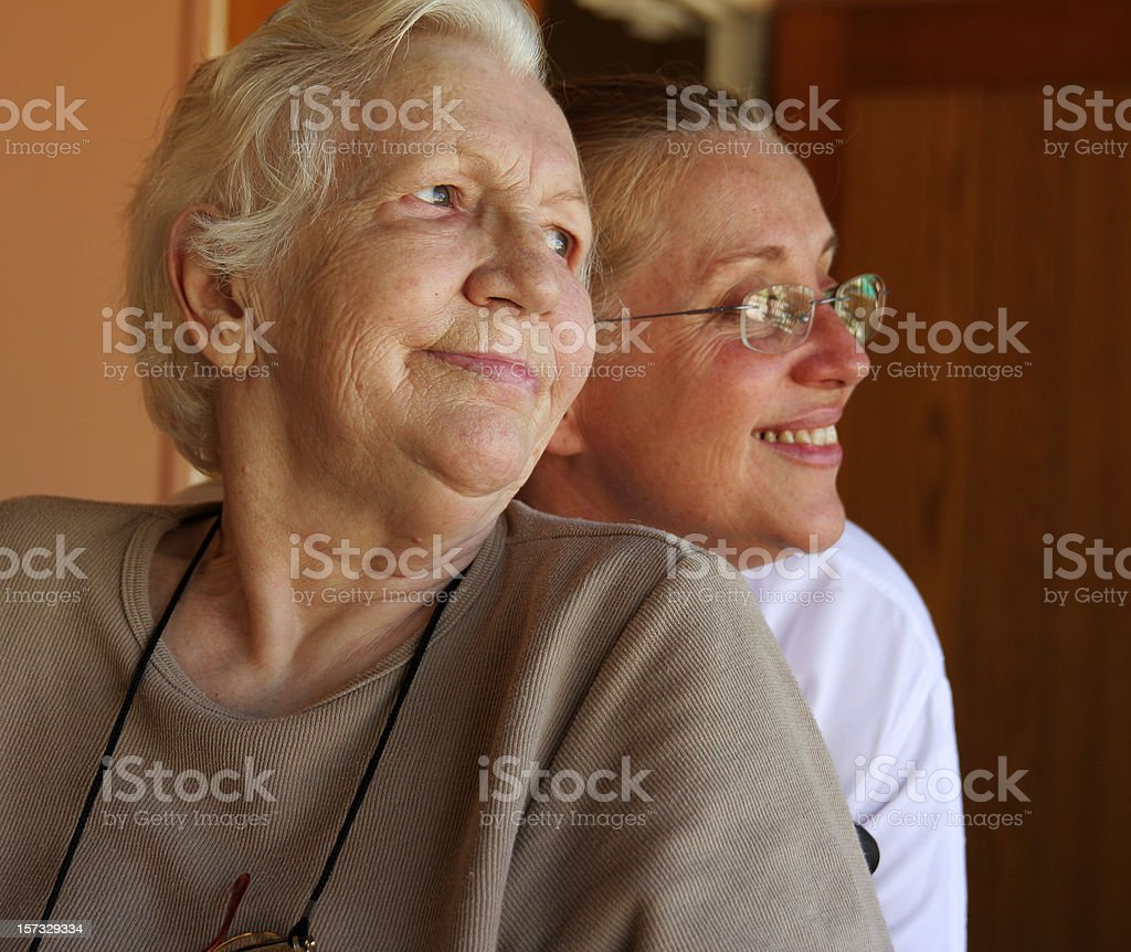 Aging mother and mature daughter royalty-free stock photo