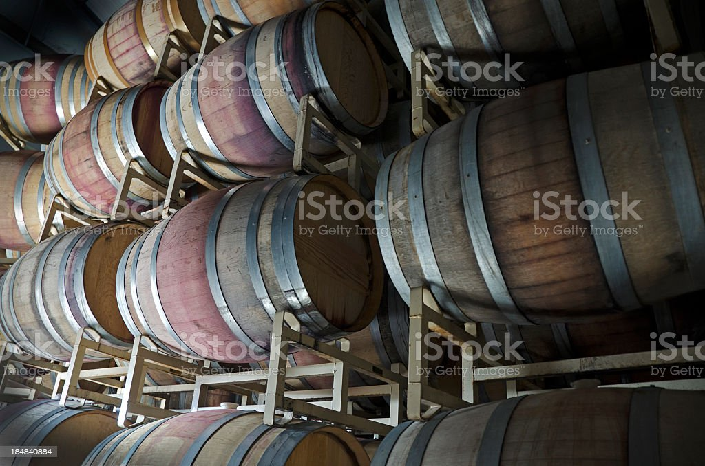 aging room in winery royalty-free stock photo