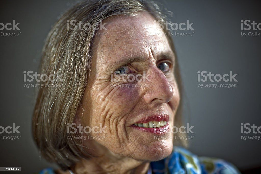 Aging senior woman  head shot stock photo