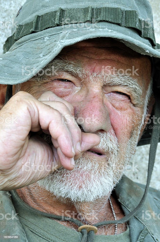 Aging Vet Recalls His Fallen Brothers royalty-free stock photo