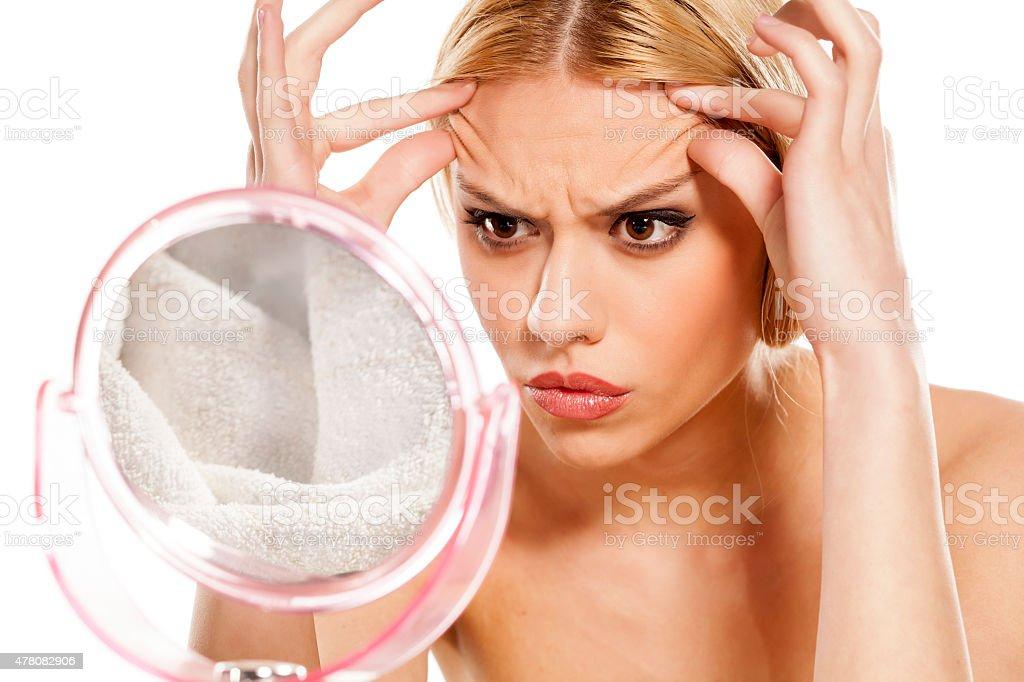 aging wrinkles stock photo