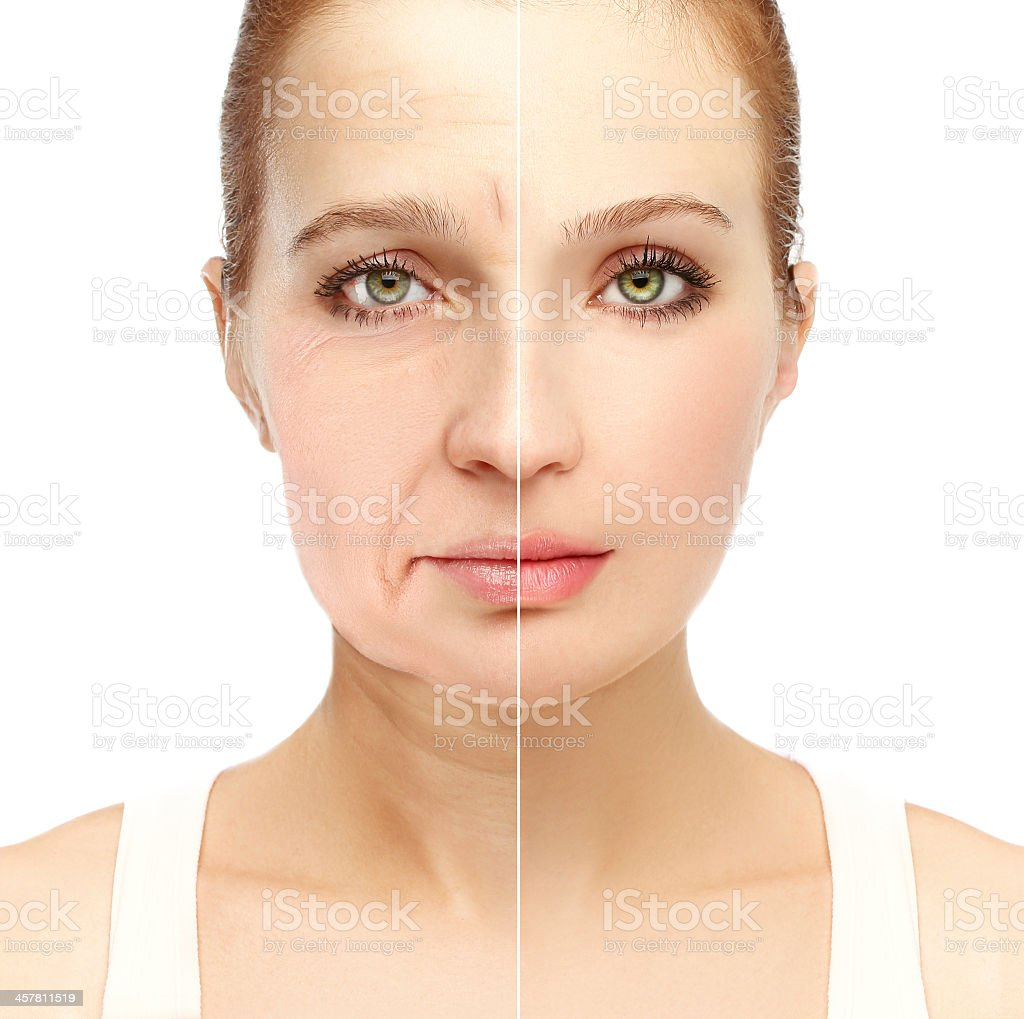 Aging.Mature woman-young woman.White background stock photo