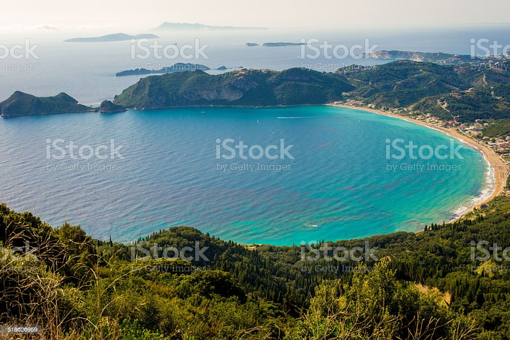 Agios Georgios bay at Corfu island Greece stock photo