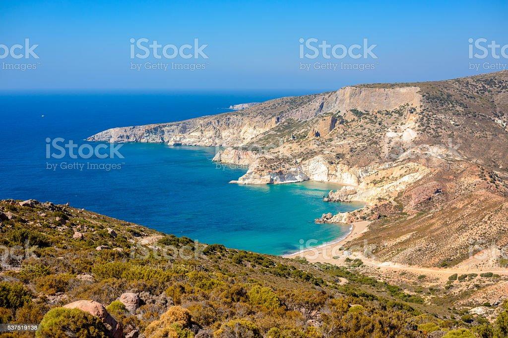 Agios Ioannis beach Melos, Greece stock photo