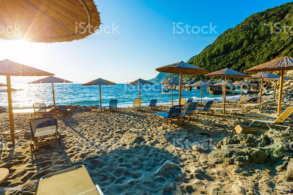 Agios Ioannis beach on Skopelos island stock photo