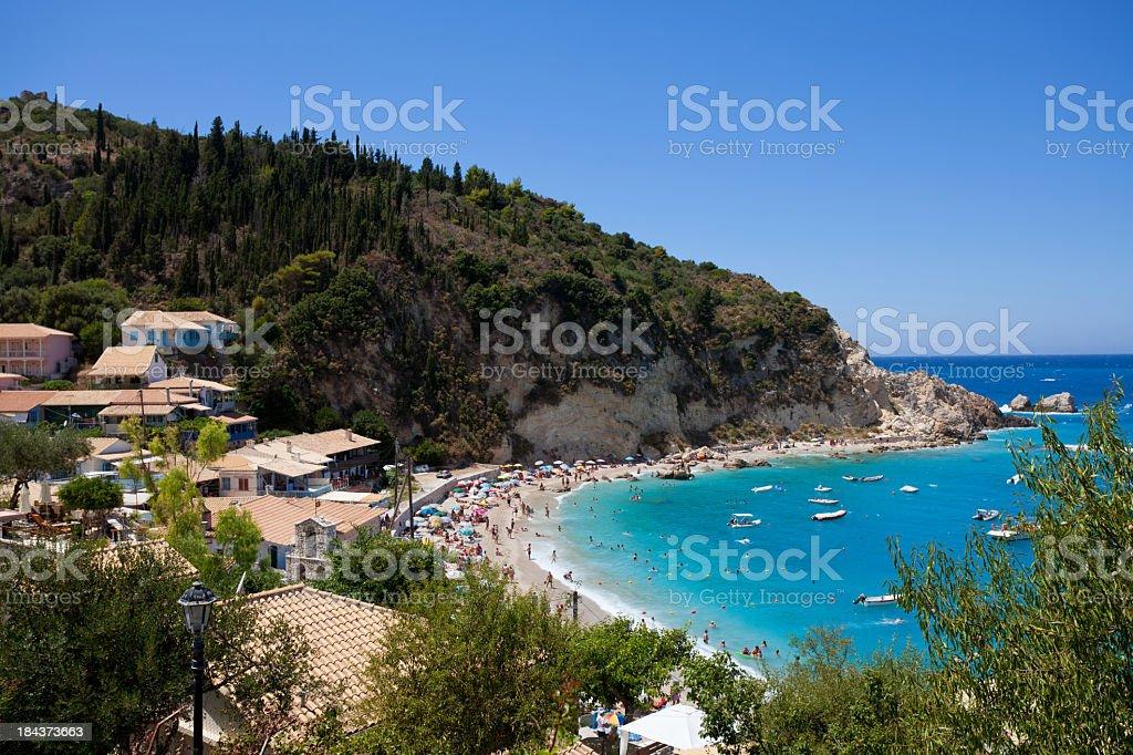 Agios Nikitas village and beach stock photo