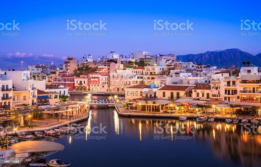 Agios Nikolaos and Voulismeni lake panoramic view, Crete, Greece. stock photo