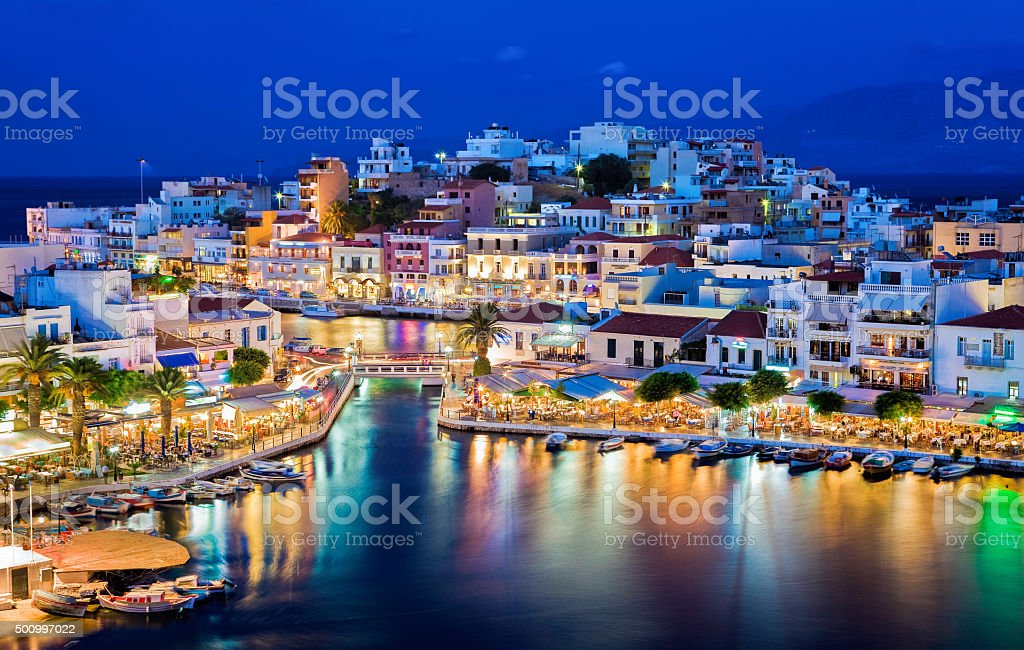 Agios Nikolaos at night. Crete, Greece stock photo
