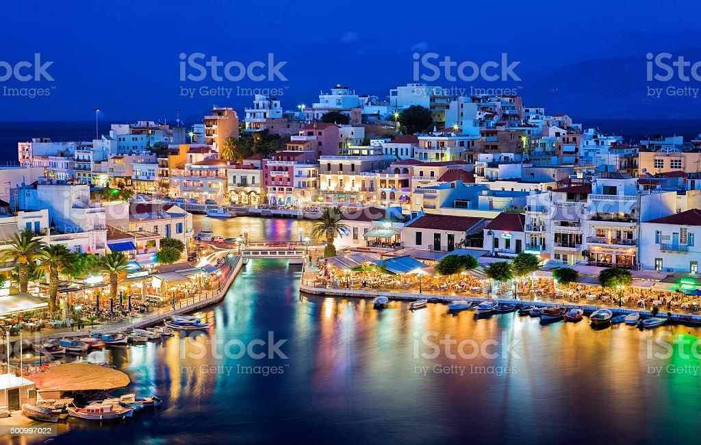 Agios Nikolaos at night. Crete, Greece stock photo
