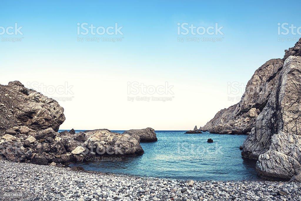 Agios Nikolaos Beach On Karpathos stock photo