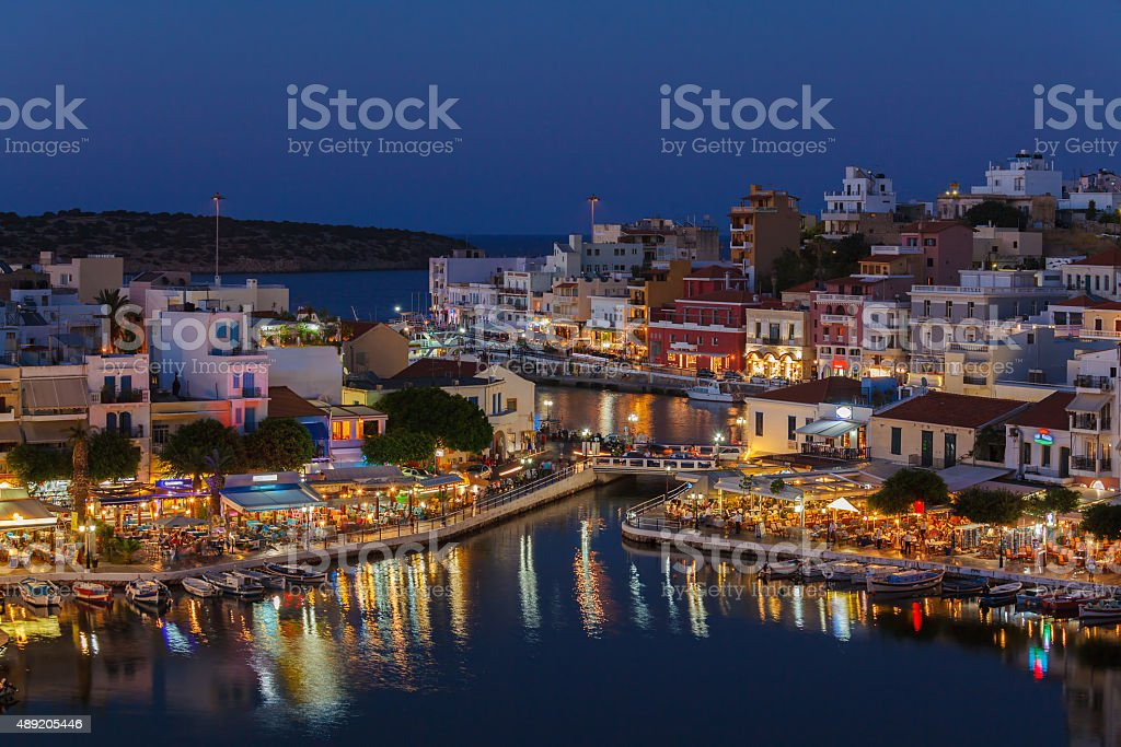 Agios Nikolaos City at Night, Crete, Greece stock photo