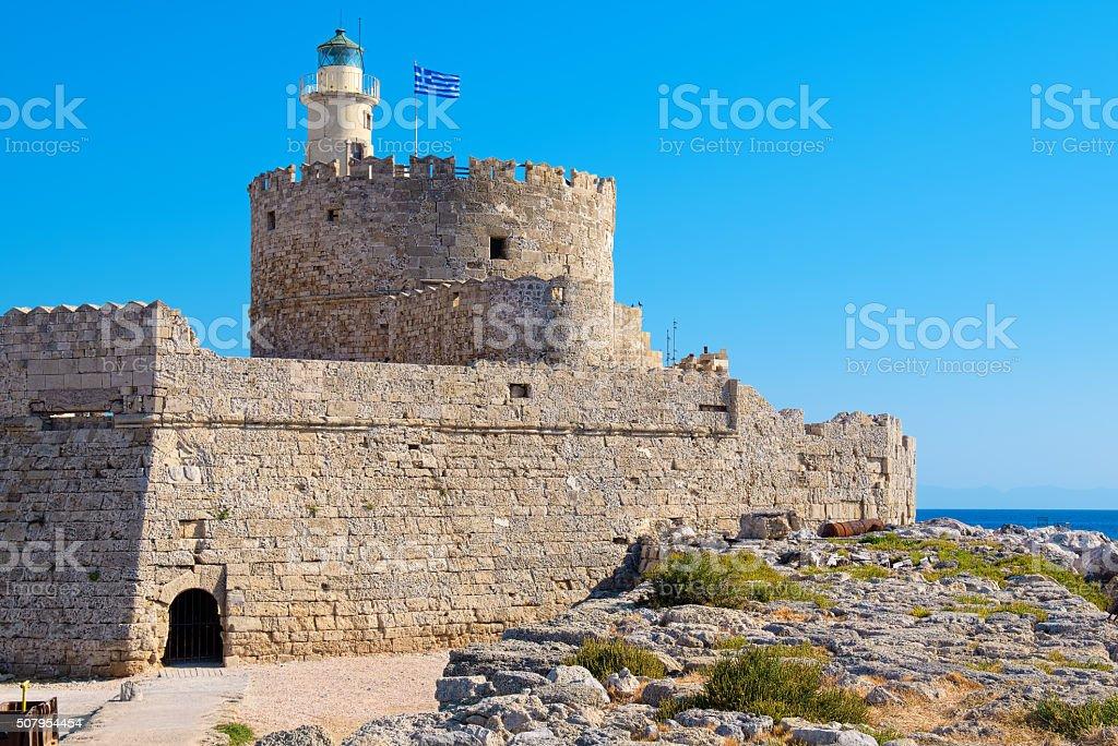Agios Nikolaos fortress. Rhodes, Greece stock photo