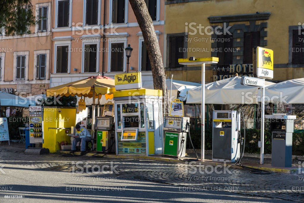 Agip gas station on a street in Rome stock photo