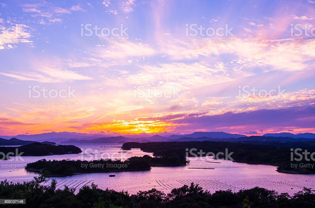 Ago bay silhouette sunsetsky,mie tourism of japan stock photo