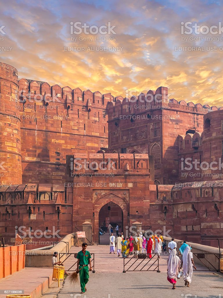 Agra Fort Keep Gate stock photo