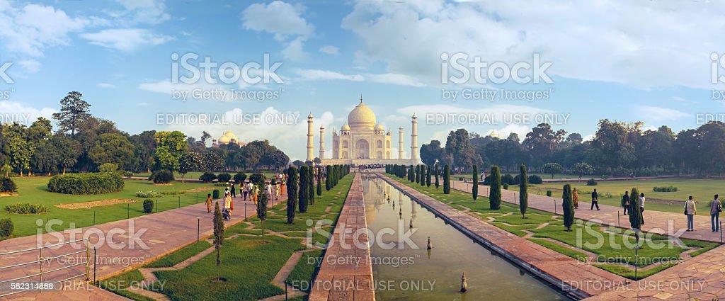 Agra, India, november 18, 2011: Indian palace Tajmahal world landmark stock photo