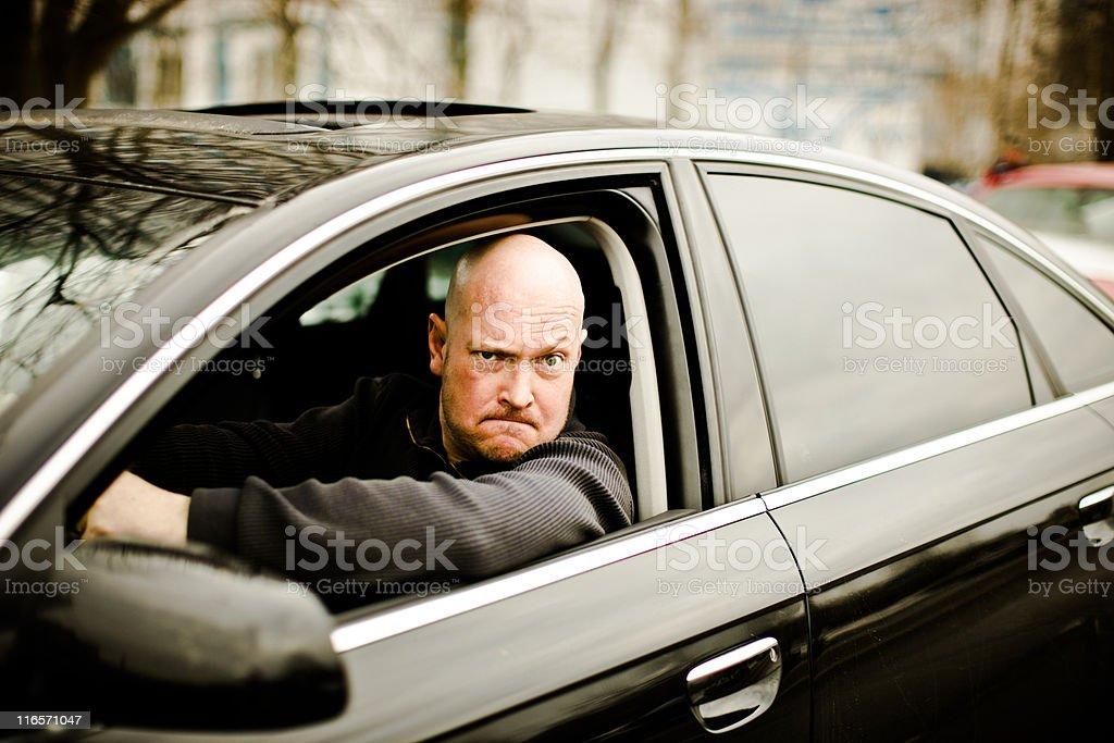 Agressive car driver royalty-free stock photo