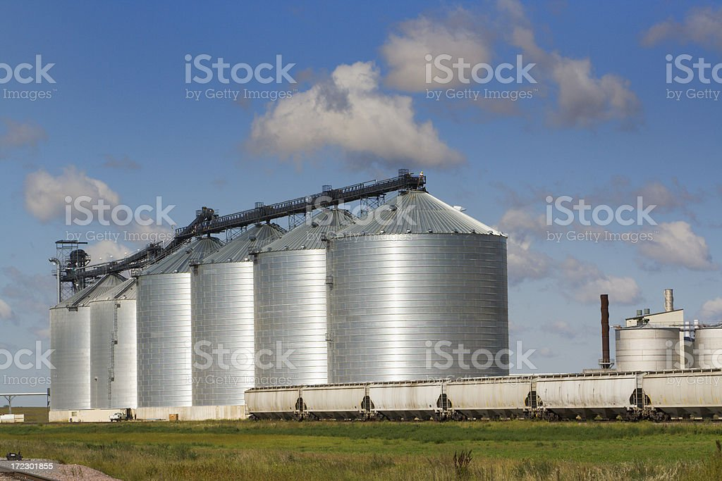 Agricultural Cereal Silo in Food Processing Industry with Train Transportation stock photo