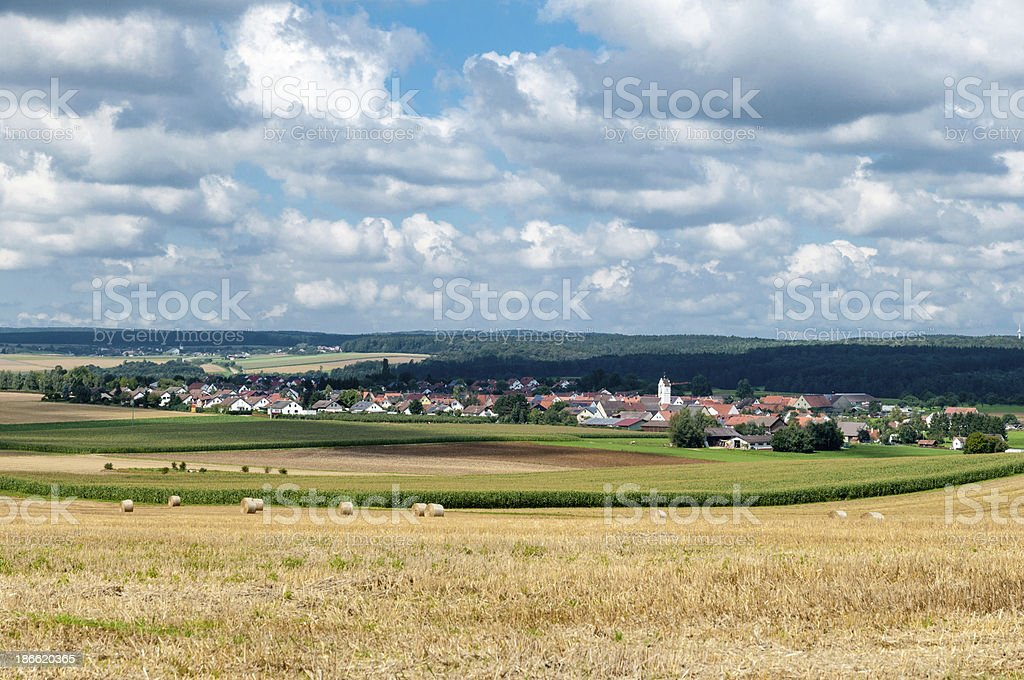 Agricultural landscape after harvest in southern Germany stock photo