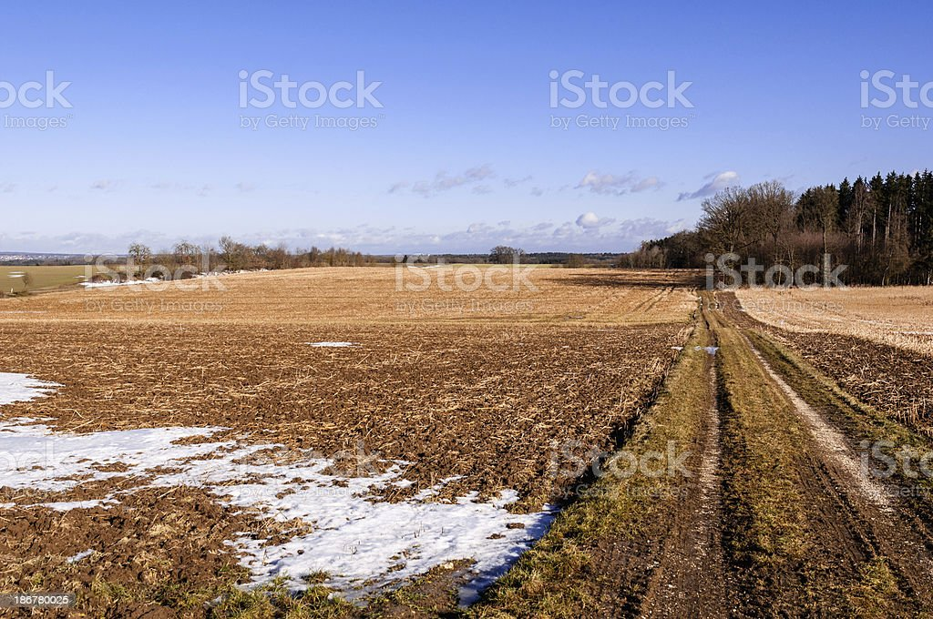 Agricultural landscape in winter, Southern Germany stock photo
