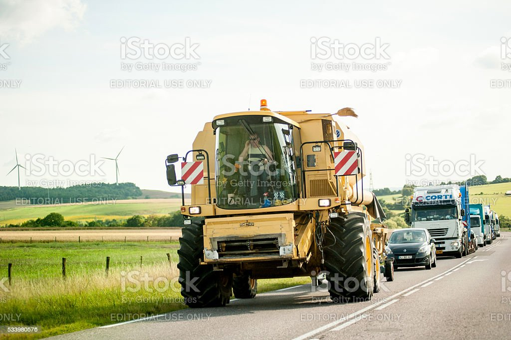 Agricultural Machine - Special Transport on French highway stock photo
