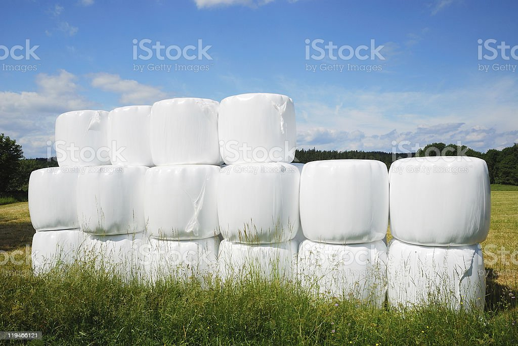 Agricultural stack with straw bales packaged royalty-free stock photo