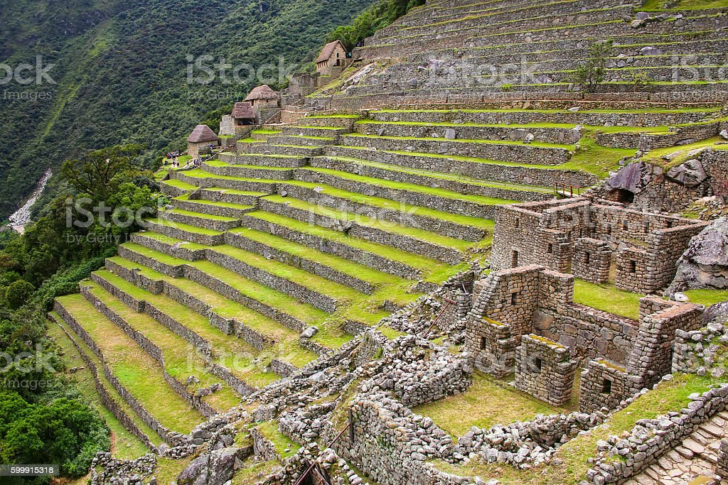 Agricultural stone terraces at  Machu Picchu in Peru stock photo