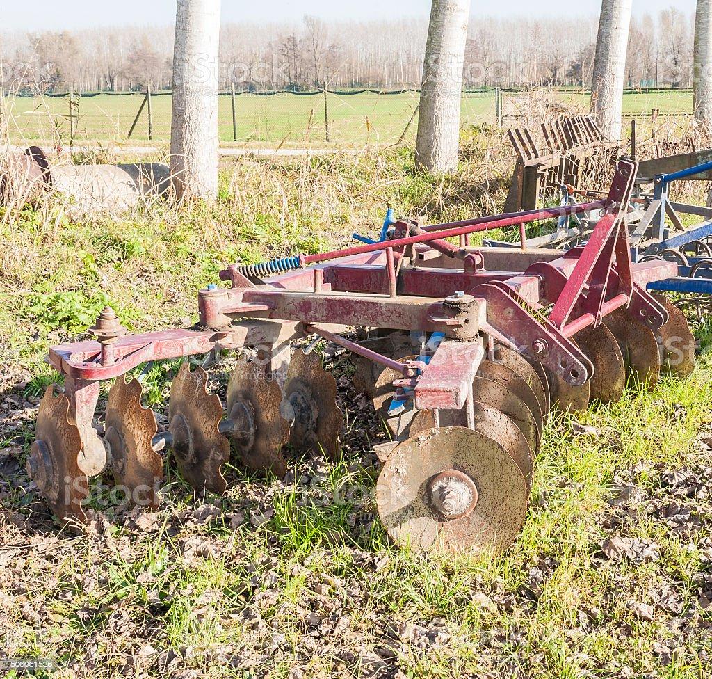 Agricultural tool, disc harrow stock photo
