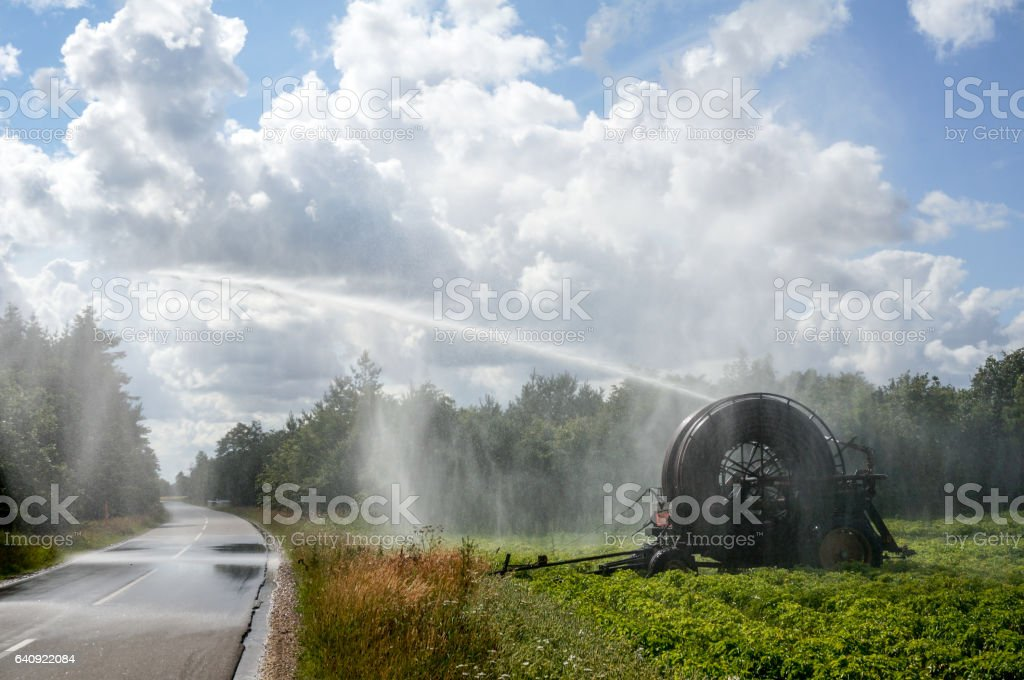 agricultural water irrigation system stock photo