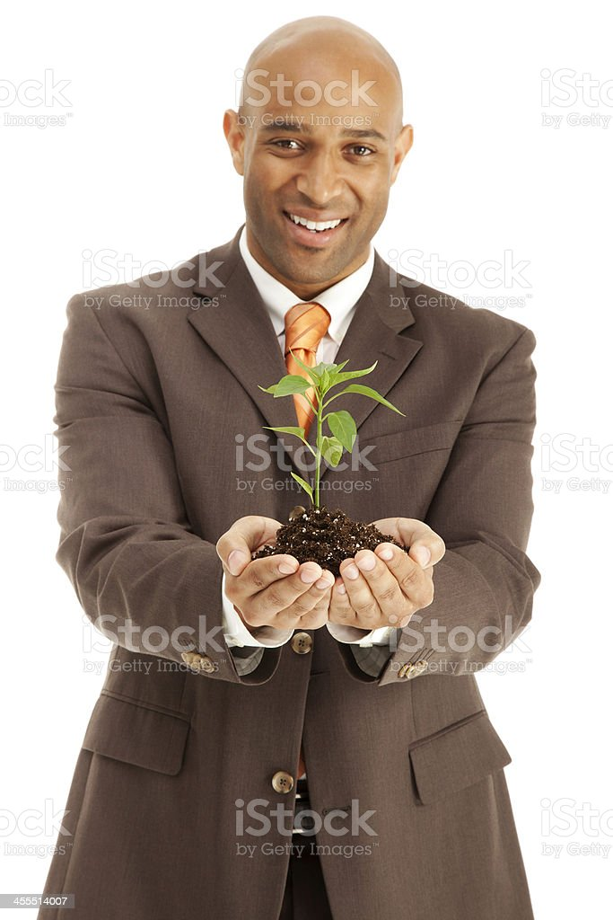 Agriculture Adult African American Man suit holding a new plant royalty-free stock photo