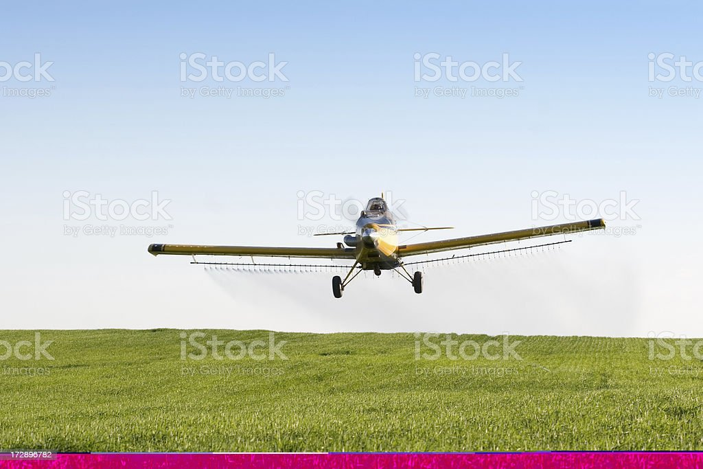 Agriculture Airplane Crop Spraying Green Field with Blue Sky Background royalty-free stock photo
