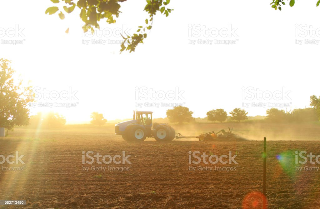 Agriculture: Farmer in tractor plowing a field with lens flare stock photo
