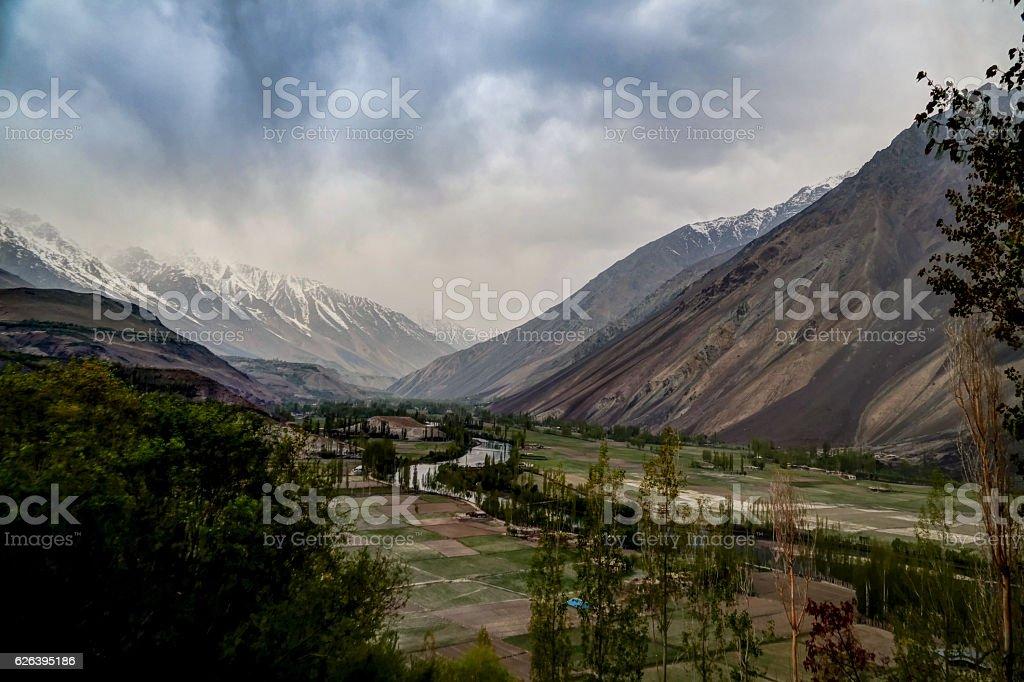 Agriculture fields near Gahkuch, Gilgit Pakistan stock photo