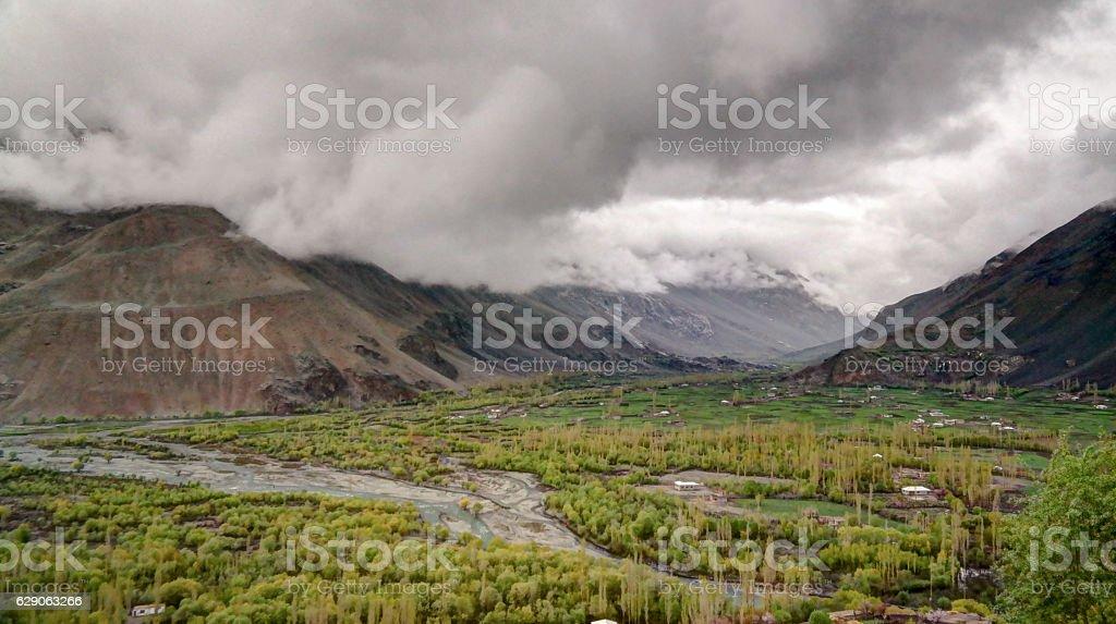 Agriculture fields near Gahkuch village , Gilgit Pakistan stock photo