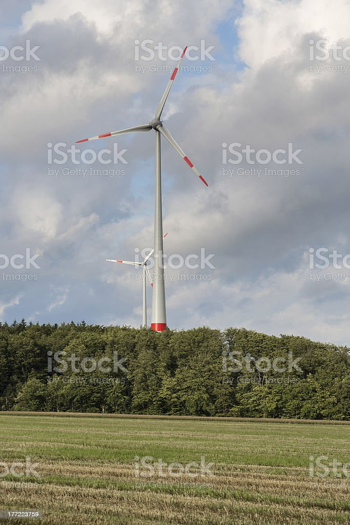 Agriculture landscape with wind turbines in Germany royalty-free stock photo