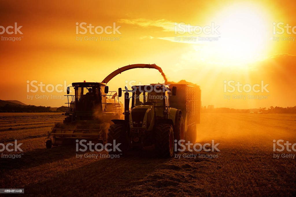 agriculture machinery on work stock photo
