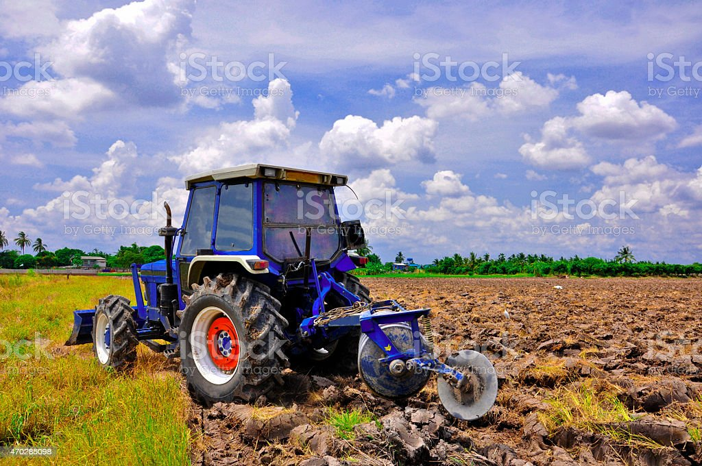 Agriculture plowing tractor on wheat cereal fields moving stock photo
