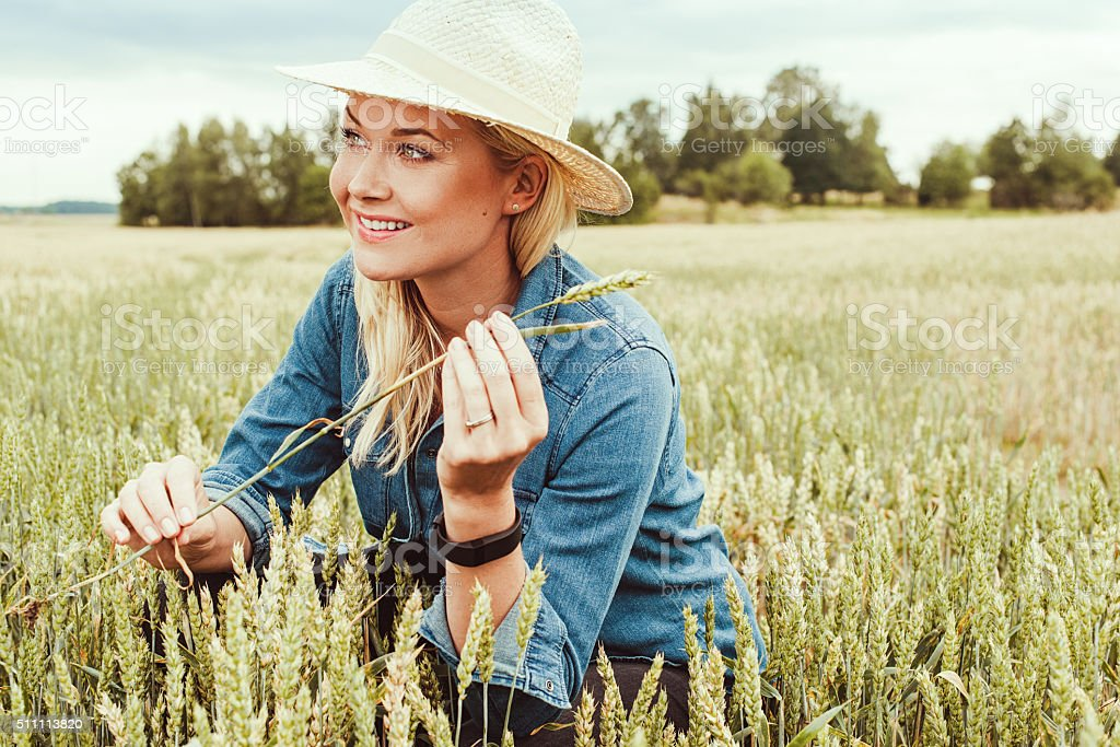 Agriculture worker researching stock photo
