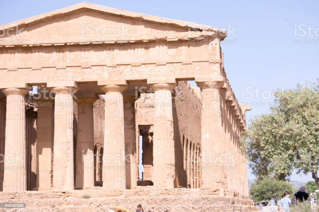 Agrigento, ancient Greek landmark in the Valley of the Temples outside Agrige stock photo
