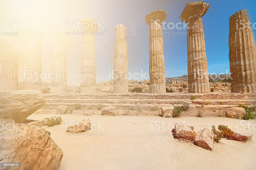 Agrigento, Hercules' Temple stock photo