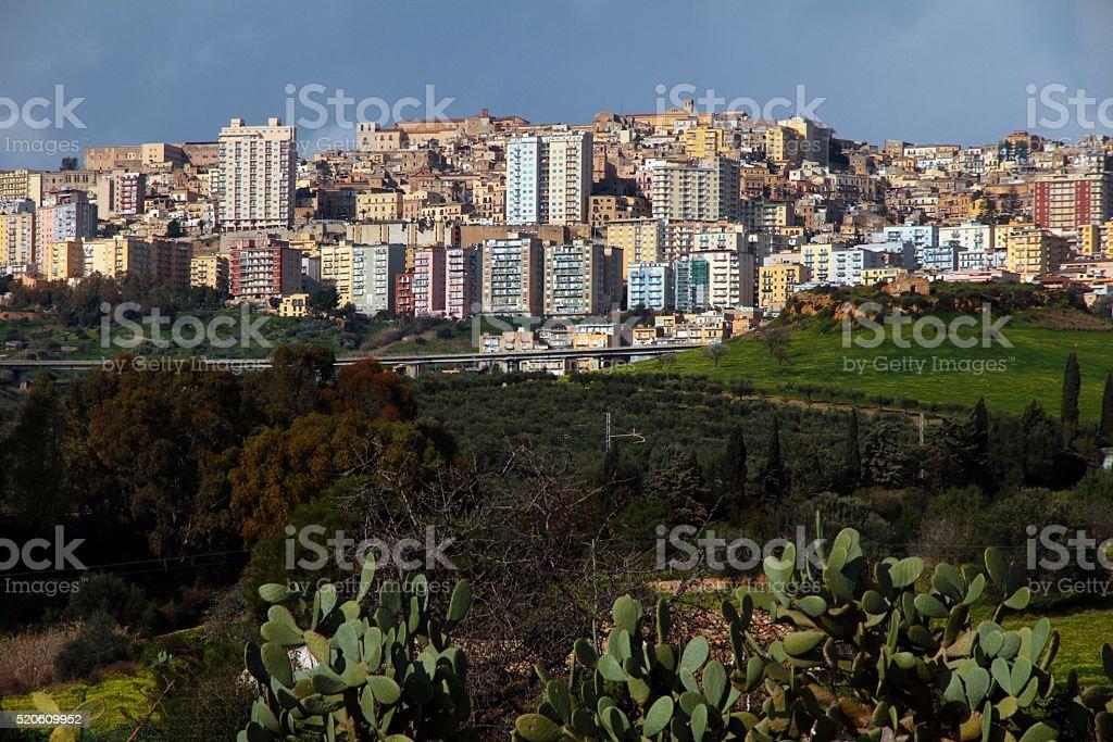 Agrigento Sicily cityscape stock photo