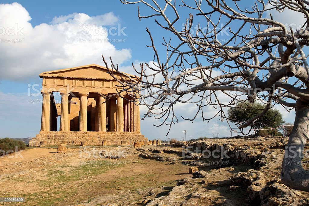 Agrigento Sicily Italy Ancient Greek Temple Concord Valley of Temples stock photo