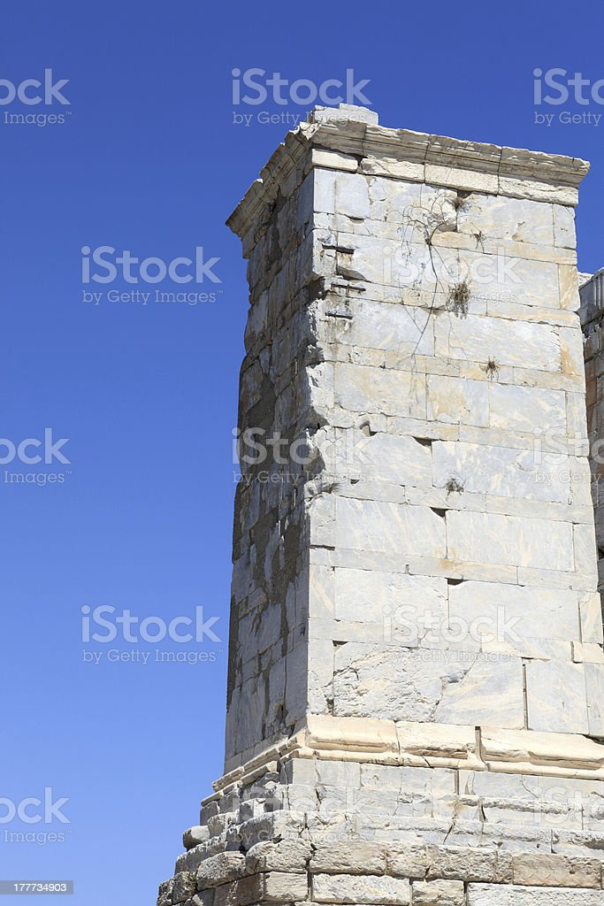 Agrippa Tower of the Acropolis Propylaea stock photo
