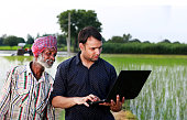 Agronomist and Farmer Standing Near Field Holding Laptop