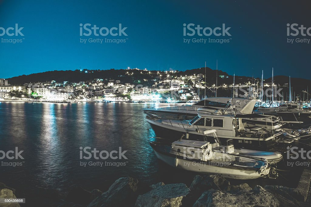 Agropoli night stock photo