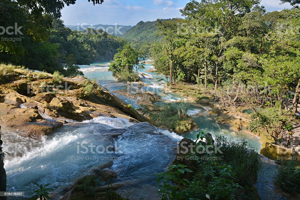 Agua Azul waterfall, Yucatan  Peninsula, Mexico. stock photo