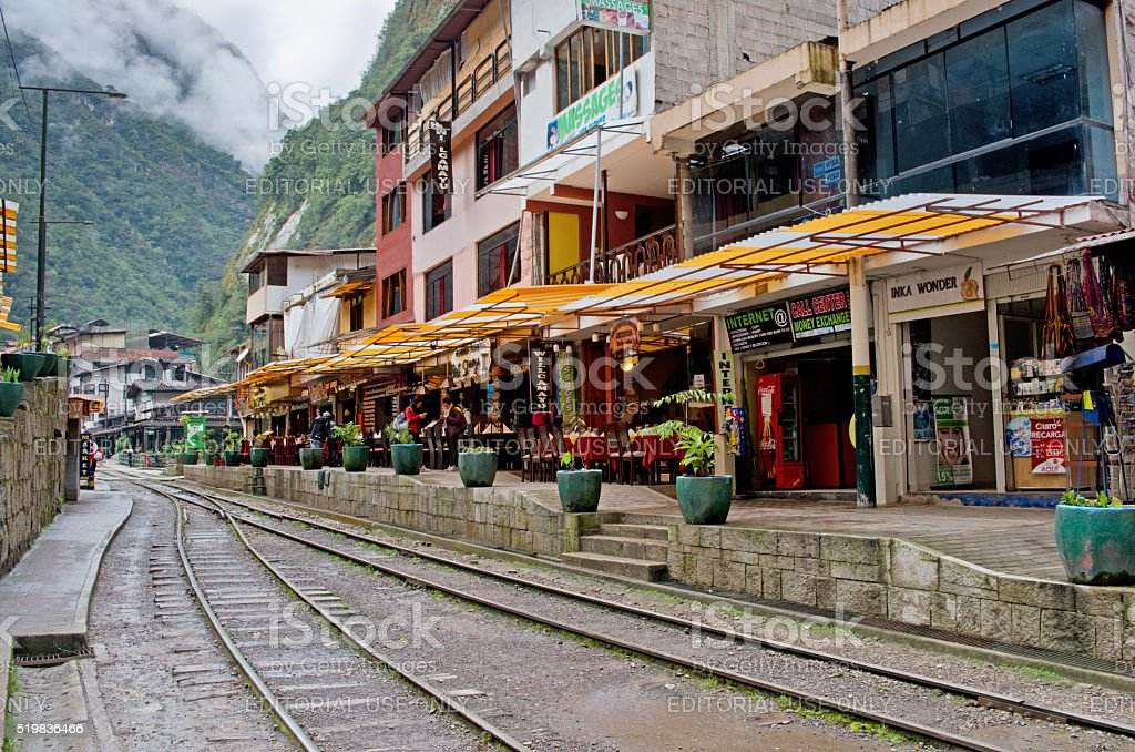 Aguas Calientes (Machu Picchu) in Peru. stock photo