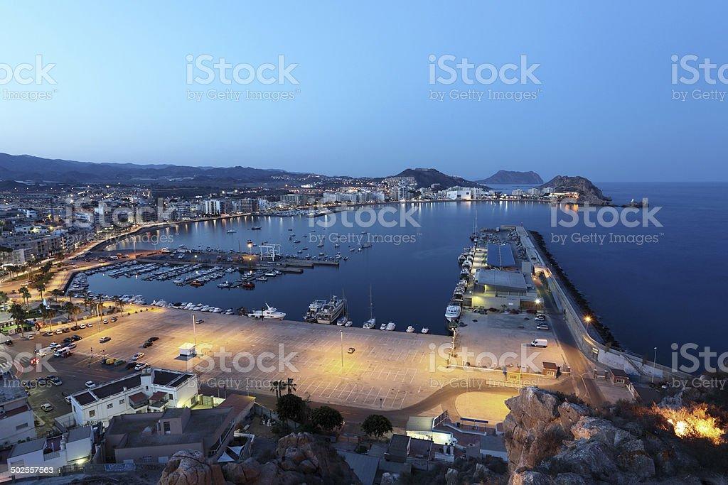 Aguilas at night. Murcia, Spain stock photo